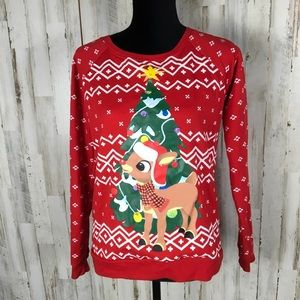 Sweaters - Rudolph Christmas Sweatshirt Pullover Lighted Ugly